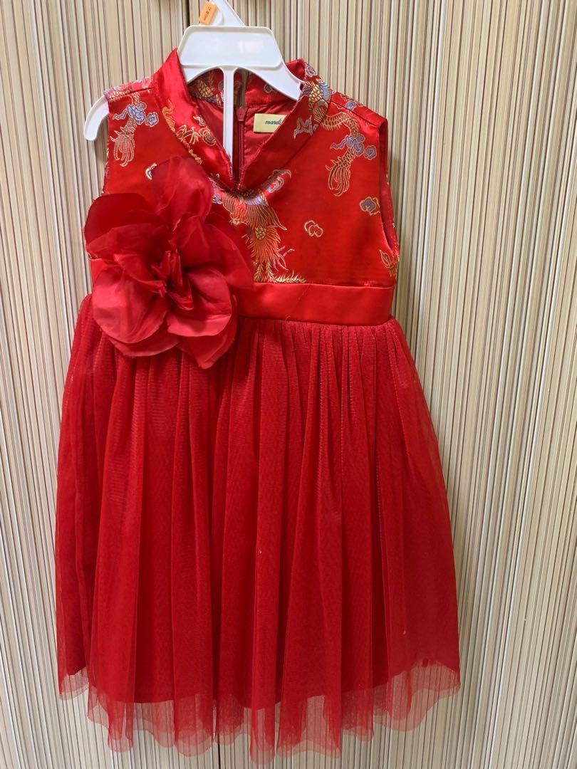 Dress Anak perempuan baju gaun pesta imlek mardi amber merah bunga no7