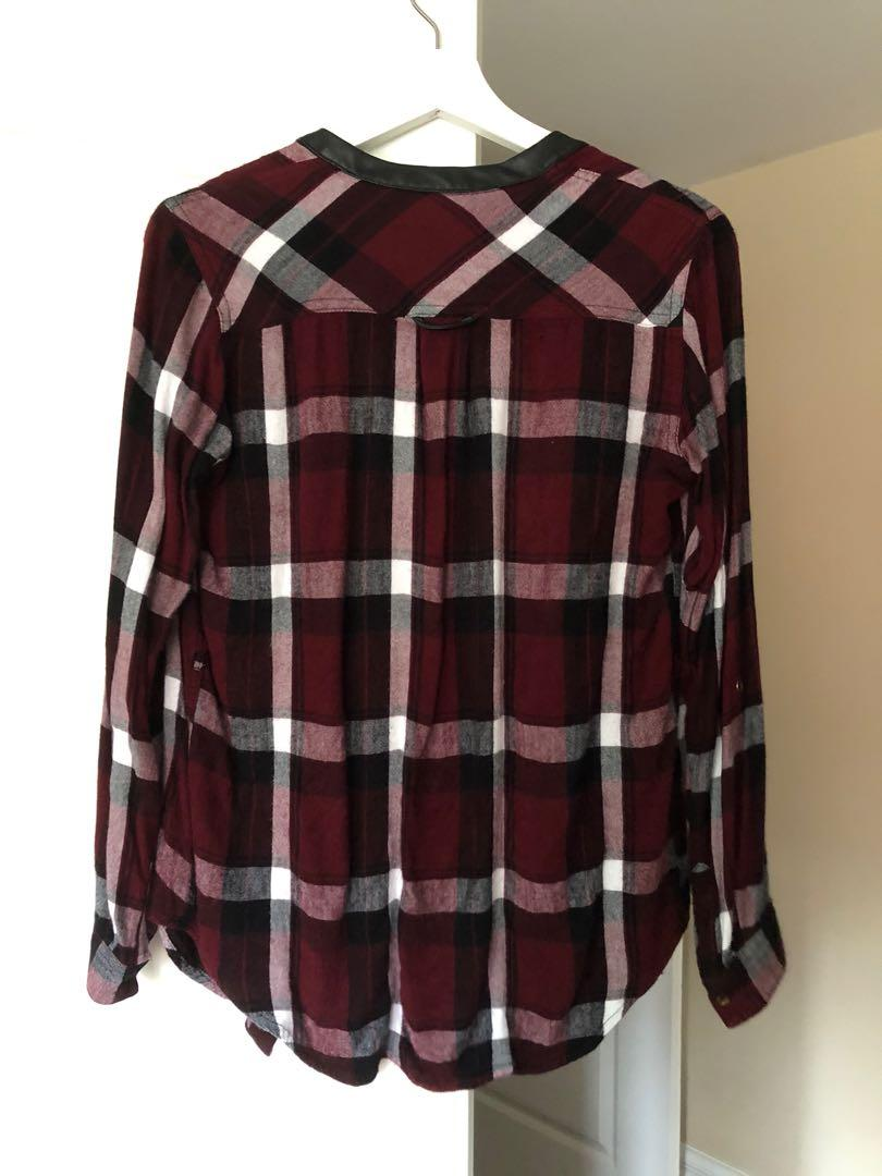 Dynamite red flannel shirt with removable leather belt