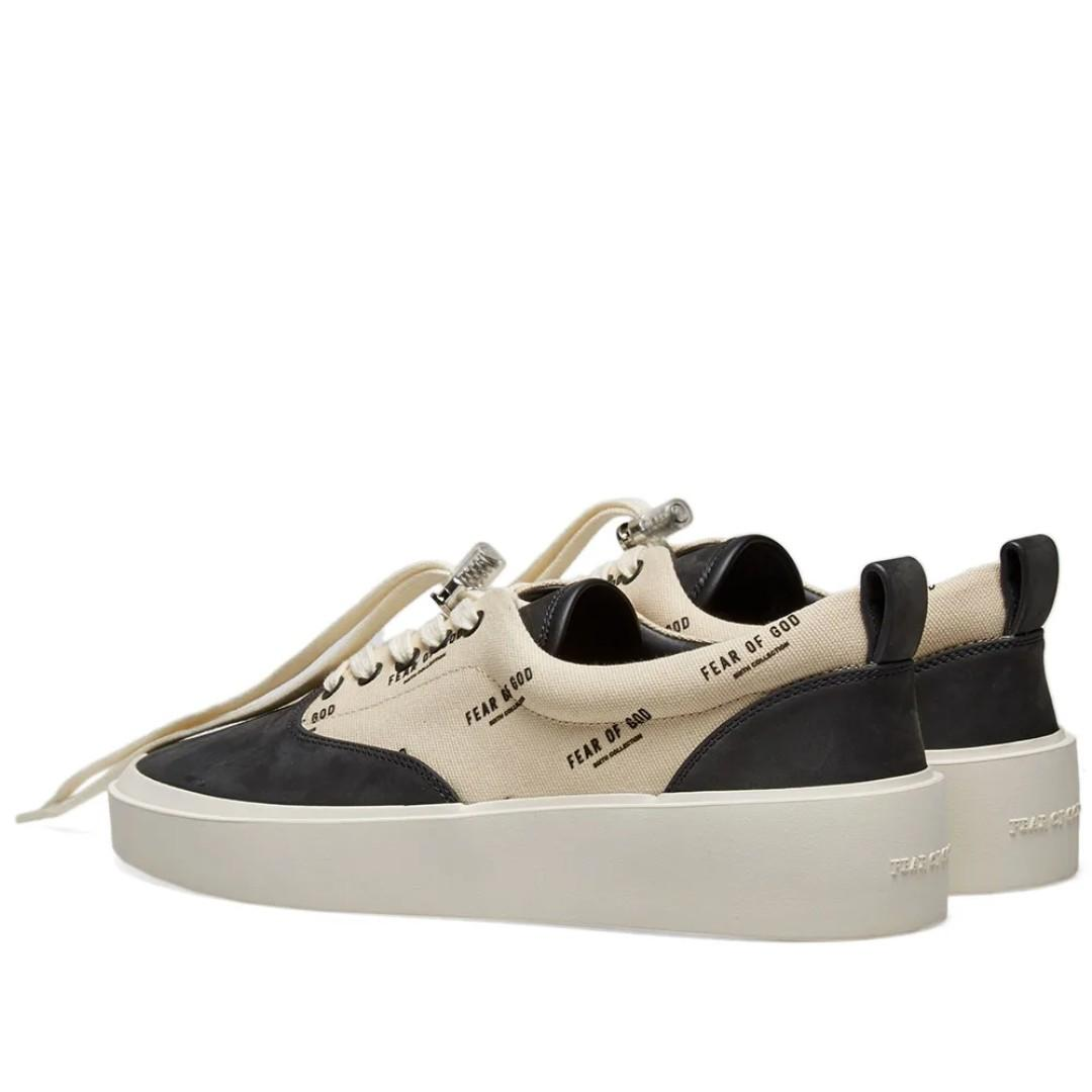 FEAR OF GOD 101 LACE UP SNEAKER BLACK & CREAM FOG PRINT SHOES