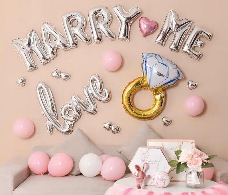 <In Stock> MARRY ME Pink White Diamond Ring Love Heart Shape Romantic Valentine Girlfriend Boyfriend Proposal Engagement Wedding Adult Theme Happy Birthday Party Decoration/ Decorative Balloon set🎊
