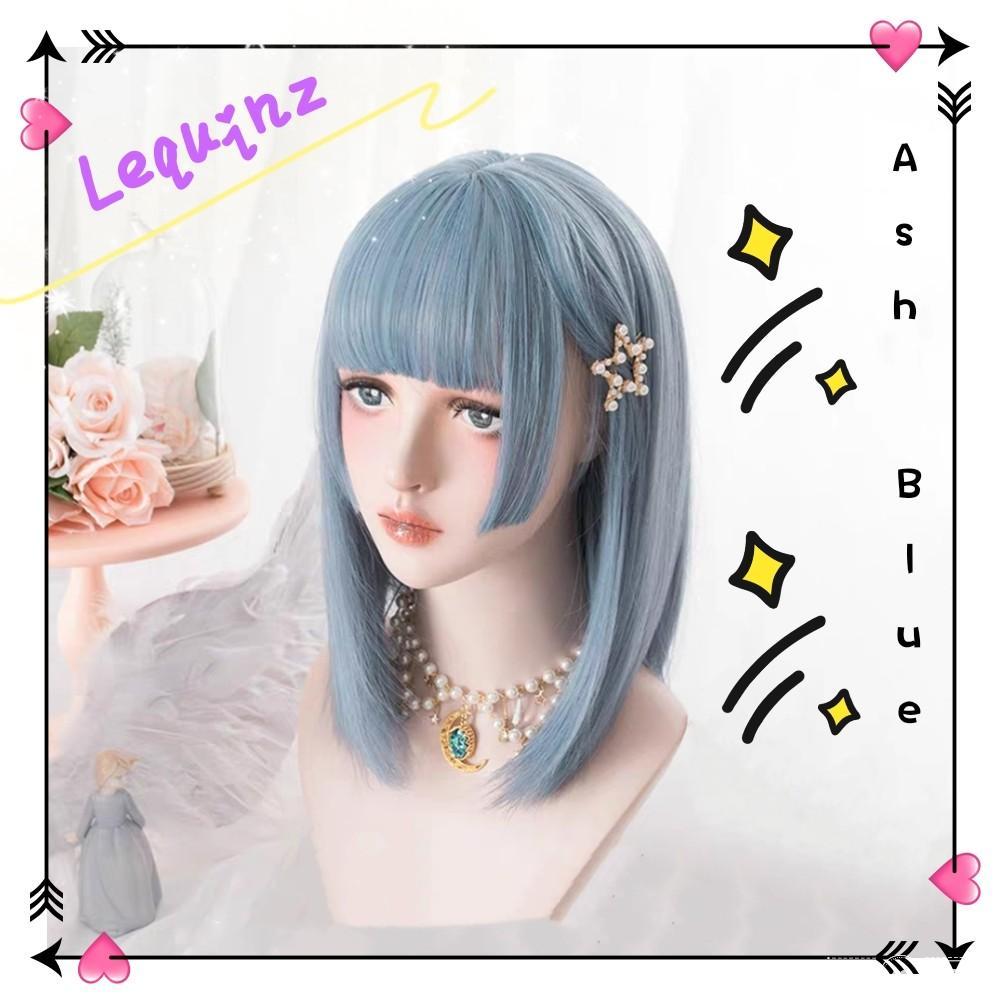 Lolita Ash Blue Short Hair Wig Women S Fashion Accessories Hair Accessories On Carousell