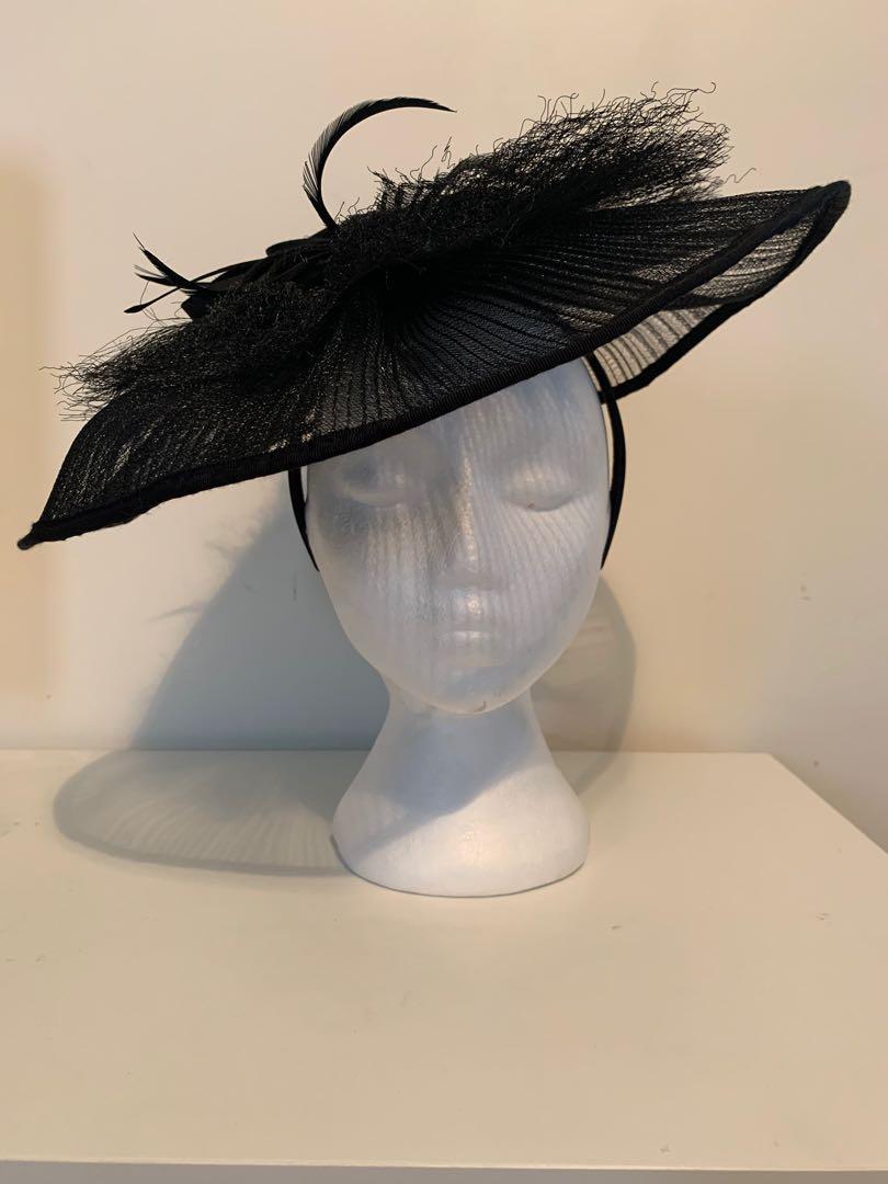 Jendi Races Mesh Beaded Feather Hat Headpiece Headband