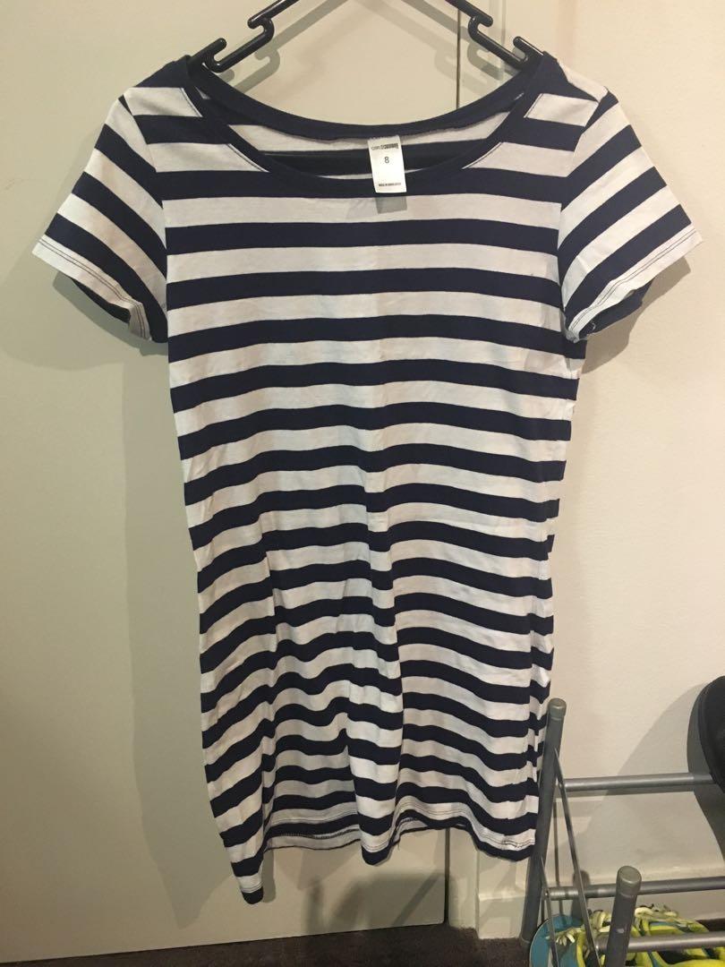 Kmart navy n white striped cotton t shirt dress (size 8)