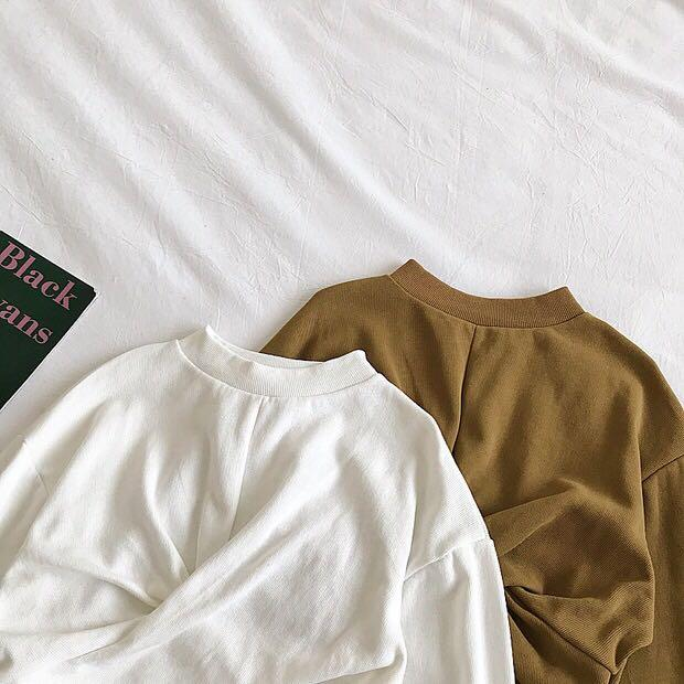 ✨(mcs) twist tie long sleeve pullover