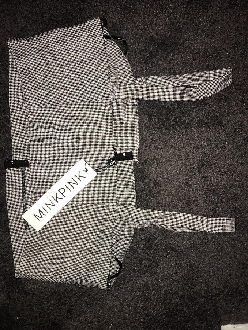 Mink pink houndstooth brand new with tags crop top