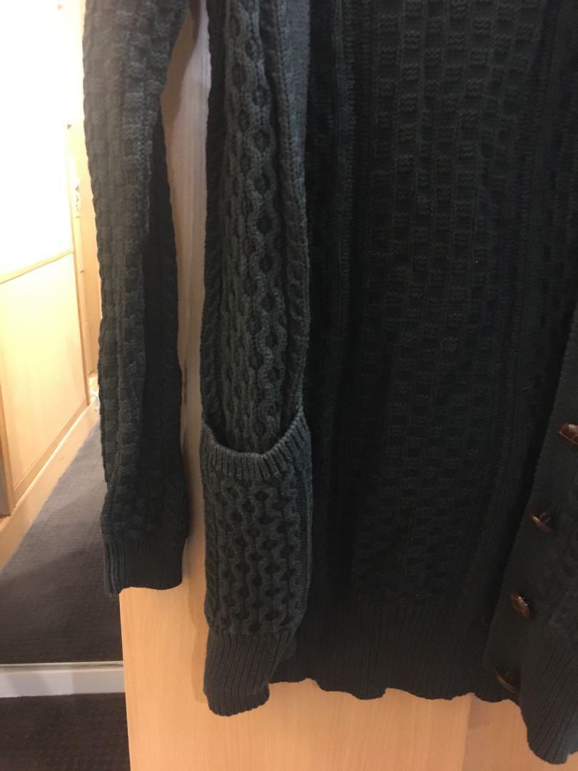 Mink Pink olive long knit patterned cardigan (size xs)