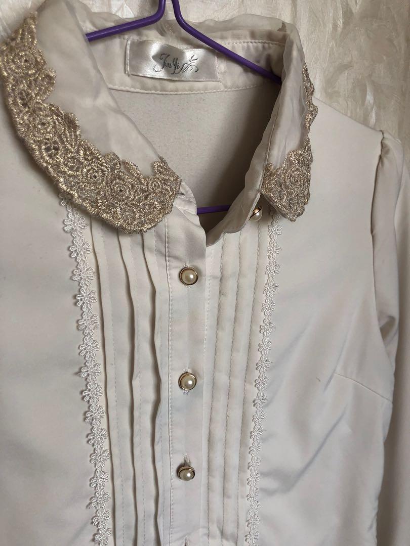 OL cotton ivory white retro embellished chiffon gold embroidery floral neck vintage top shirt blouse 象牙白棉質上衣恤衫 雪紡金線花紋刺繡領復古
