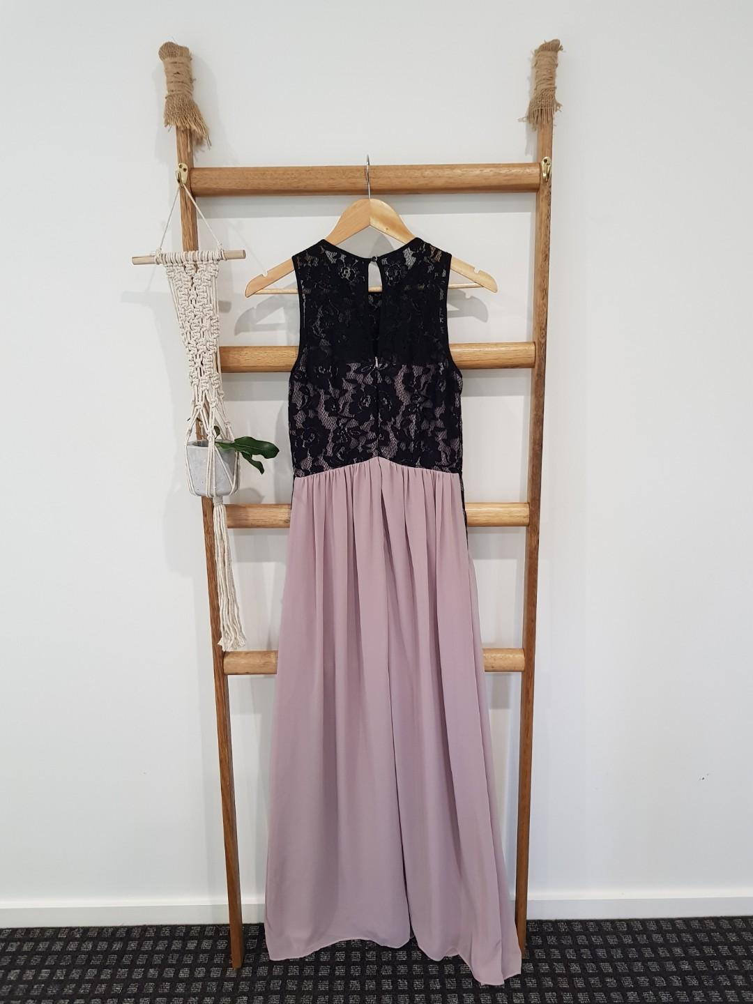 Pastel Pink Formal Dress with Black Lace Detailing
