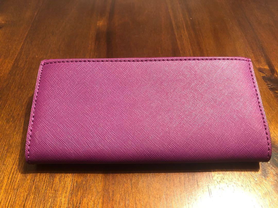 Purple Michael Kors Selma satchel hand bag w/ wallet & bag