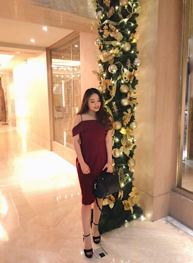 Sabrina red party dress