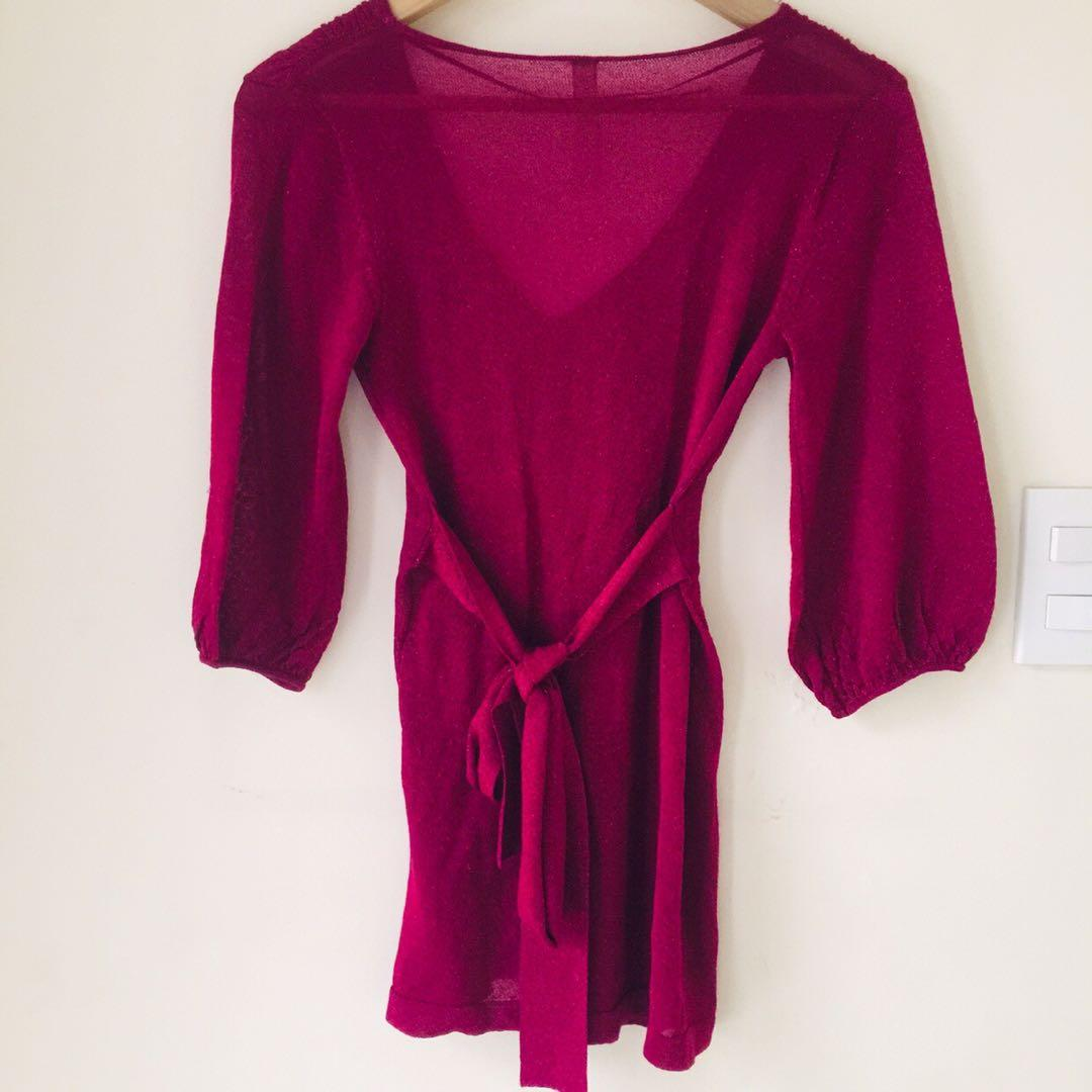 Snap Sale! Authentic Springfield Shimmer Maroon Bell Top