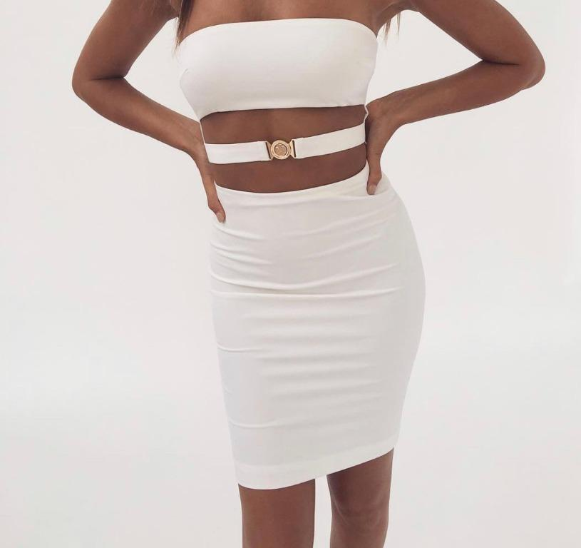 Womens White Ivory Strapless Midi Cutout Dress - L - Just worn once