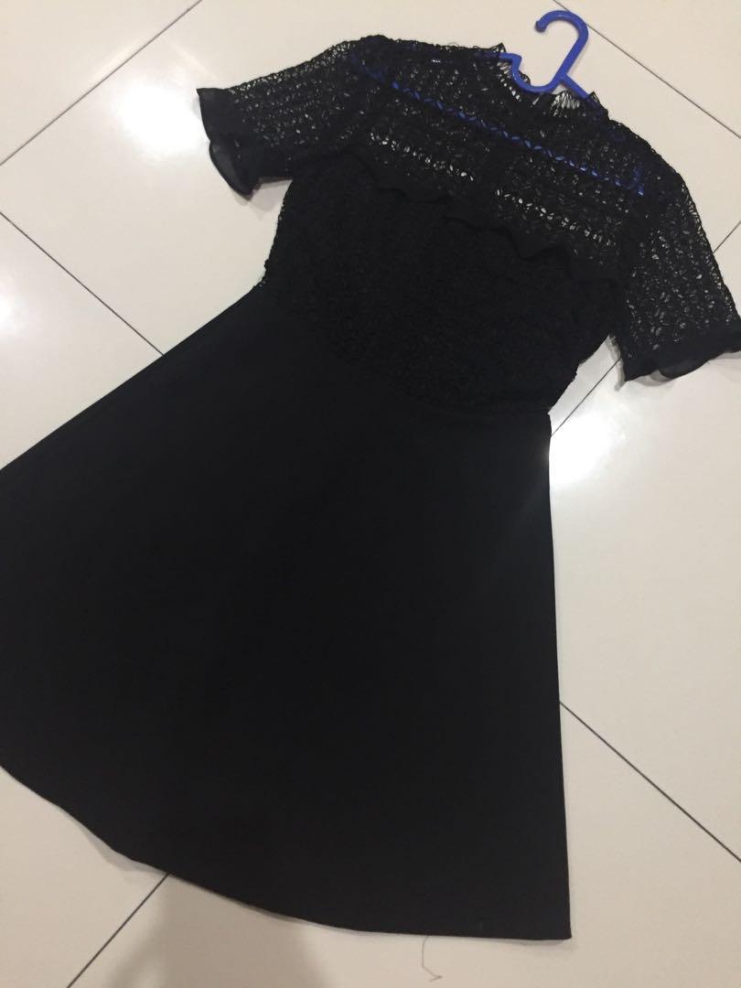 Zara guipure black lace dress