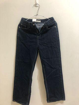 #換物。百搭直筒長褲高腰顯瘦深藍色牛仔褲