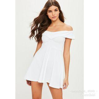 [New] Missguided Dropped Sleeve Bardot Skater Dress