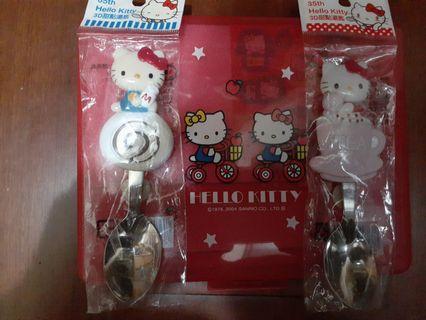 原装HeIIo  Kitty,3D甜点汤匙,加盒装,信纸,信封,贴纸,笔。
