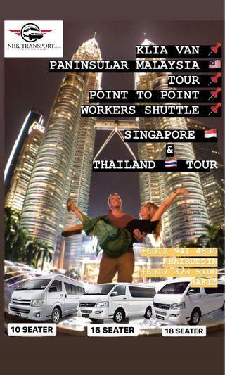 tour van / klia van / airport van / melaka tour / penang tour / thailand tour / singapore tour