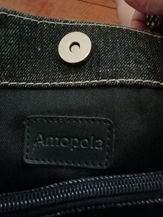 Amopola 牛仔 真皮編織包/ 小手提包 8成新