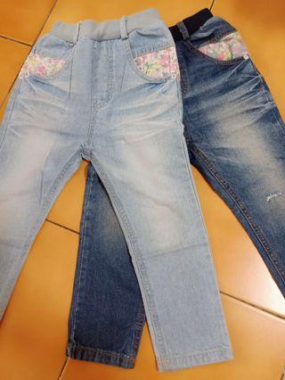 二手商品韓國女童男友褲/牛仔褲 2件原價1千800多約115穿