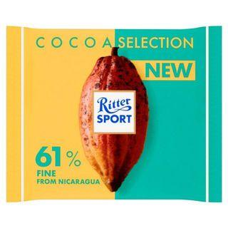 RITTER SPORT COCOA SELECTION 61% FINE FROM NICARAGUA CHOCOLATE BAR 100g