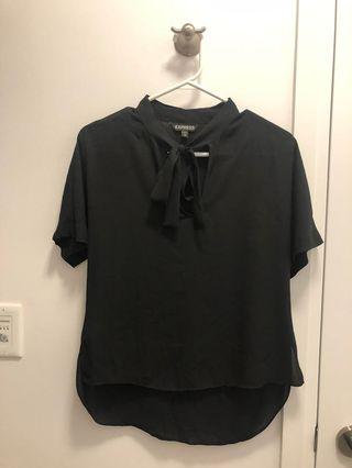 Black Short Sleeve Blouse with Tie