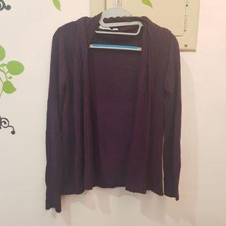 衣櫃出清~Giordano 暗紫色100%螺縈涼感針織罩衫外套
