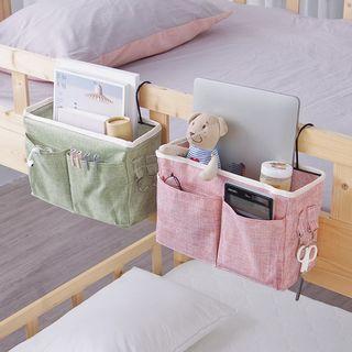 【現貨】綠色 粉色 棉麻 日系 布藝 收納掛袋 床頭收納袋 收納神器 床邊掛袋 掛袋 收納袋 寢室儲物袋 收納袋 4色 厚實棉麻