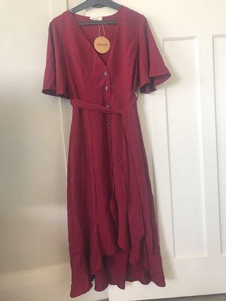 Red tie front midi dress
