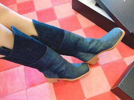 「sogo復興館購入」Chanel香奈兒牛仔拼接中長靴