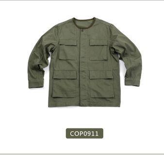 Plain me 棉質斜紋M-65軍裝無領外套 軍綠色S號 plain-me COP0911