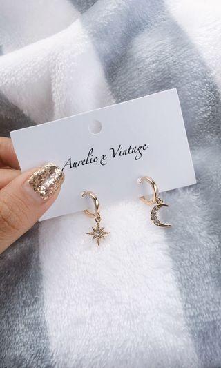 Earring Gold Moon Star Premium High Quality