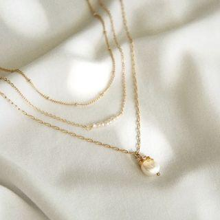 layer pearl chain gold beaded necklaces