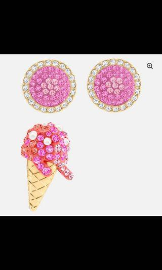 Swarovski  ice cream 穿孔耳環