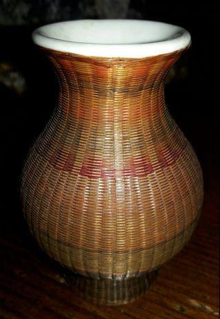 竹編花瓶,竹子編織花器,竹編擺飾
