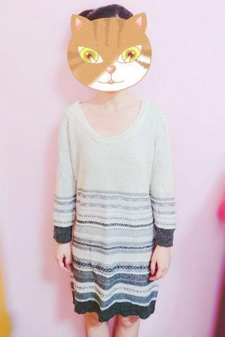 長袖上衣 上衣 長袖9分袖長版 長版針織米白色毛衣 女生上衣