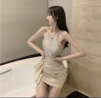 閃亮亮背心小可愛+雪紡高腰褶皺包裙