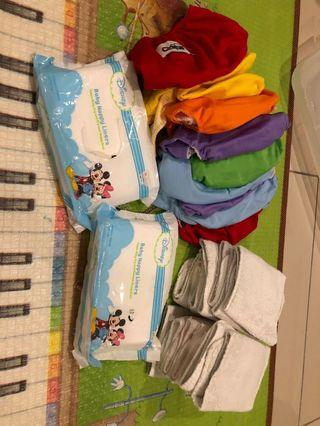 10 diapers clothes + insert+nappy liners