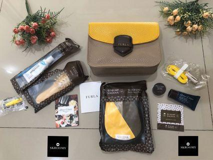 Amenity Kit FURLA by Saudia Airlines colour Brown Yellow