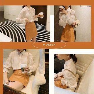 法式皺褶小眾襯衫2色 A0014