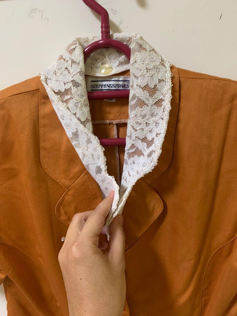 2 pcs Setelan blazer rok sepan wanita coklat