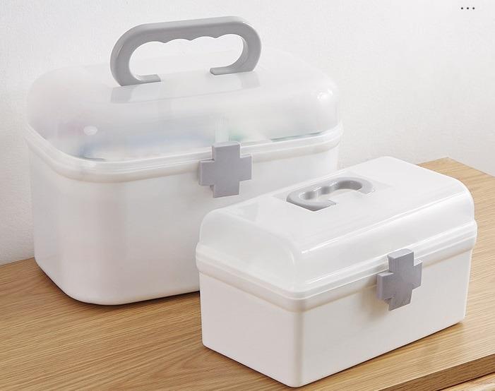 【現貨】特大款  醫藥箱 藥箱 家庭收納盒 多層收納 小朋友收納盒  幼兒小醫藥箱 收納箱 桌上收納 加厚材質 上下雙層 分類收納 尺寸請參考圖示 2種尺寸 (特大款)