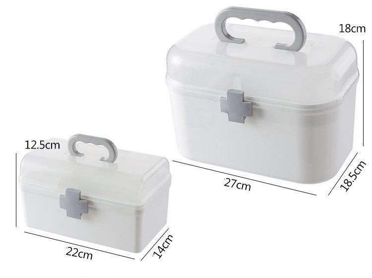 【現貨】/中款 醫藥箱 藥箱 家庭收納盒 多層收納 小朋友收納盒  幼兒小醫藥箱 收納箱 桌上收納 加厚材質 上下雙層 分類收納 尺寸請參考圖示  (中款)