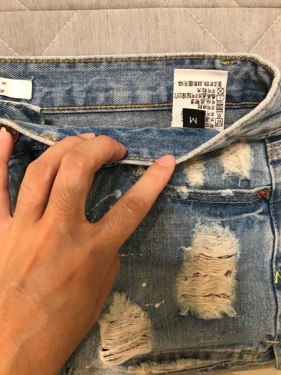 【 辣妹必BUY】性感刷破牛仔短裙內附安全褲 迷你裙 真理褲 短褲