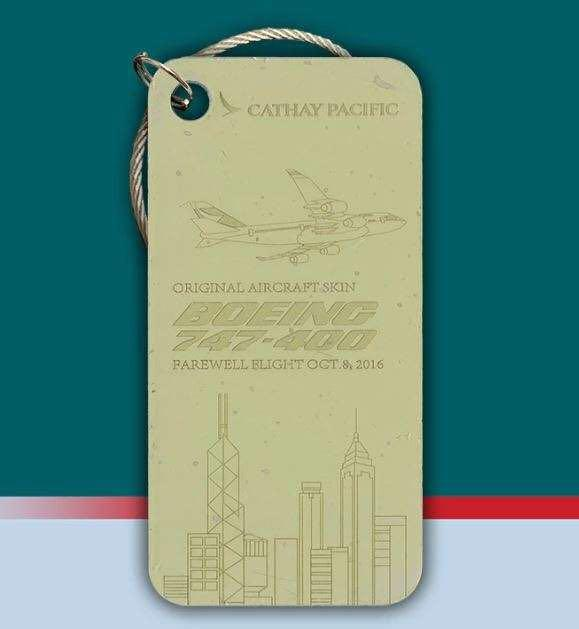 Boeing 747 B-HUJ Last Cathay Pacific Original Aircraft Tag Gray