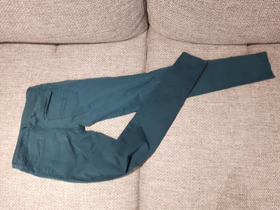 American eagle Teal Green Pants with side stripes Size 0 Stretch Low Rise skinny Jeans