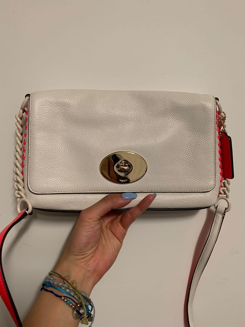 AUTH Brand New COACH White Neon Pink Fuchsia Crossbody Shoulder Bag