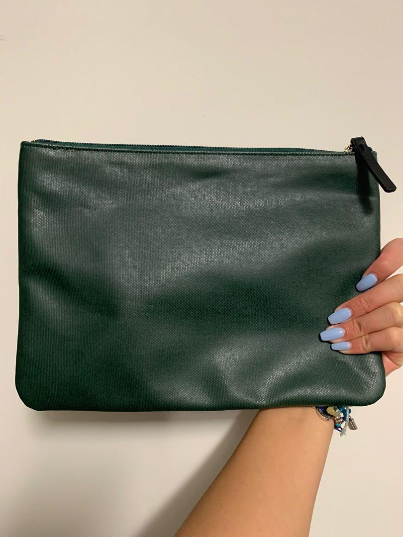 AUTH Brand New KATE SPADE Green 'Crazy Like A Fox' Clutch Pouch Wallet Bag - NEW
