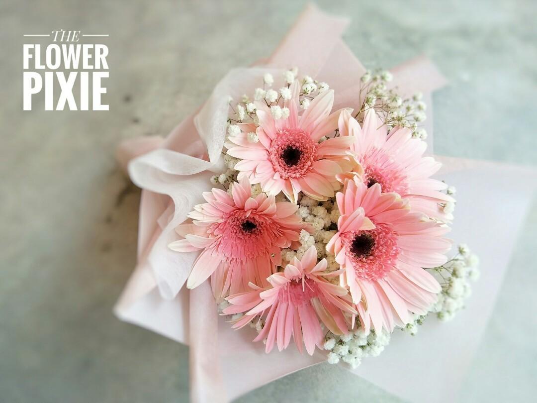 B47: 5 Gerberas with Baby's Breathes Bouquet|Birthday Flower|Anniversary Flower|Proposal Flower|Graduation Flower|Florist|Flower Delivery