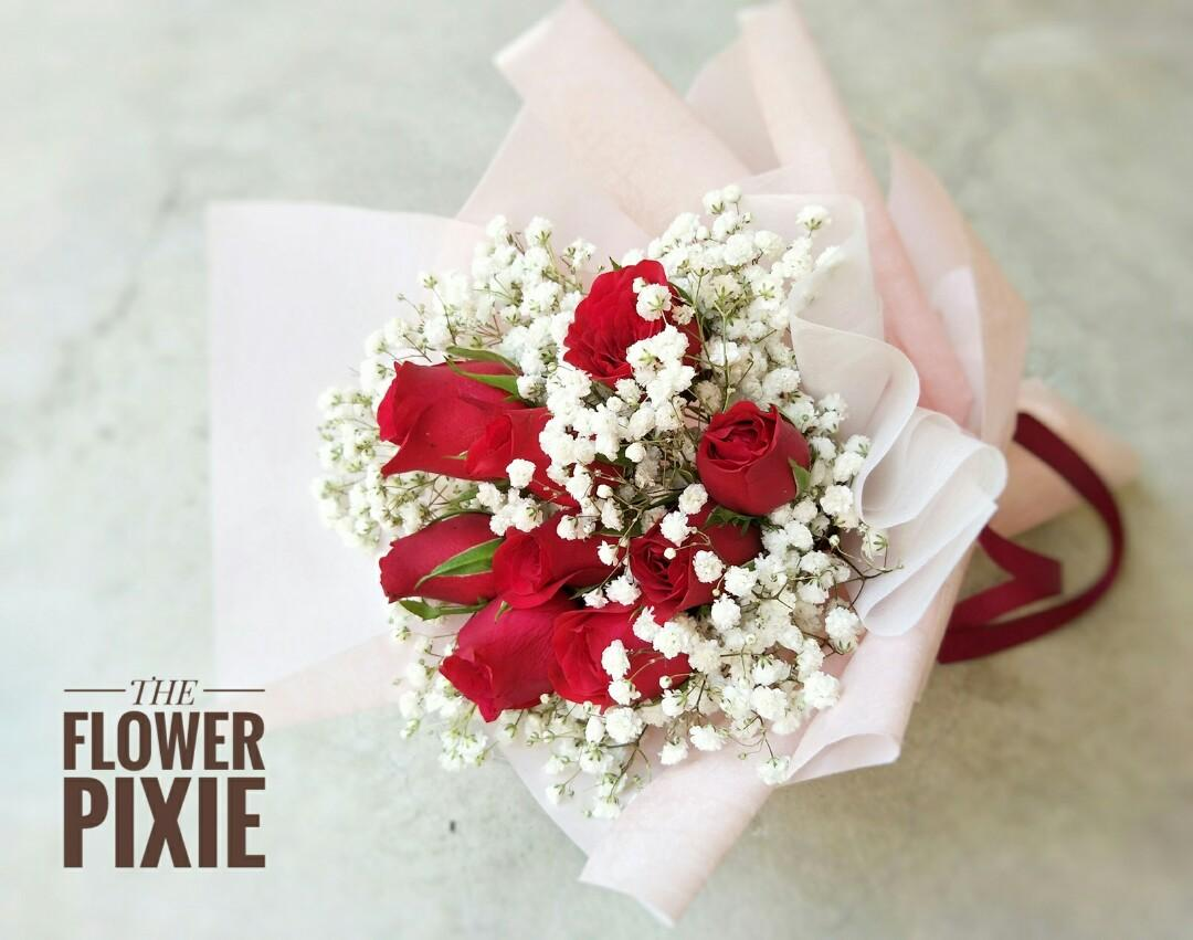 B49: 9 Roses with Baby's Breathes Bouquet|Birthday Flower|Anniversary Flower|Proposal Flower|Graduation Flower|Florist|Flower Delivery