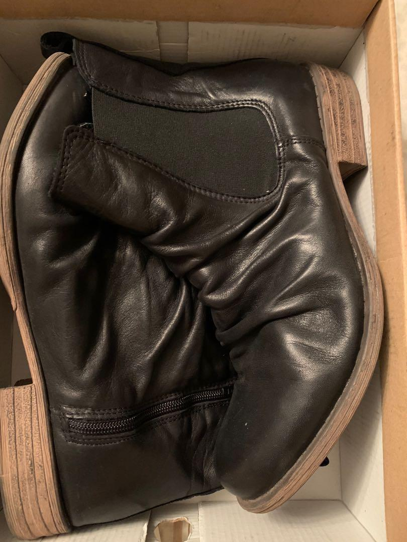 black leather EOS boots
